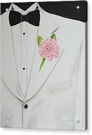 A White Sport Coat And A Pink Carnation Acrylic Print