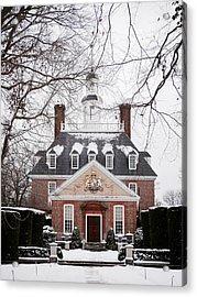 A Williamsburg Winter's Snow Acrylic Print by Rachel Morrison