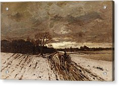 A Winter Landscape With A Horse And Cart At Dusk Acrylic Print