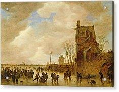 A Winter Skating Scene Acrylic Print by Jan Josephsz van Goyen
