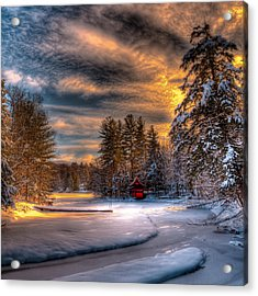 A Winter Sunset Acrylic Print by David Patterson