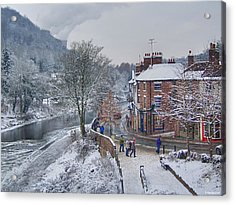 A Wintry Street Scene In Ironbridge Gorge England Acrylic Print