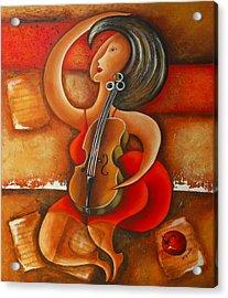 A Woman And Her Violin Acrylic Print by Marta Giraldo