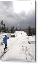 A Woman Cross Country Skiing Acrylic Print by Skip Brown