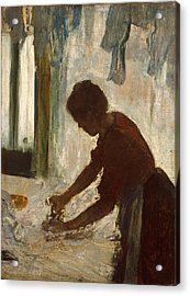 Acrylic Print featuring the painting A Woman Ironing by Edgar Degas