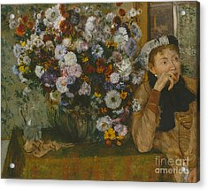A Woman Seated Beside A Vase Of Flowers, 1865 Acrylic Print
