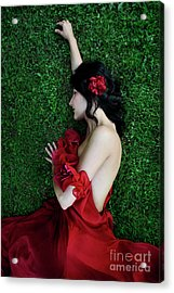 A Woman Sleeping On The Grass In A Red Dress Acrylic Print