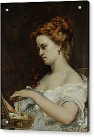 A Woman With Jewellery Acrylic Print by Gustave Courbet