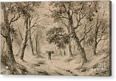 A Wood Gatherer In The Forest Acrylic Print by Anton Mauve