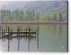 A Wooden Pier At A Small Lake Acrylic Print by Joana Kruse