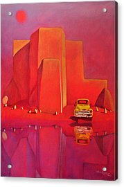 Acrylic Print featuring the painting A Yellow Truck With A Red Moon In Ranchos by Art West
