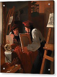 A Young Artist Examining A Sketch In A Mirror Acrylic Print