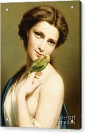 A Young Beauty With A Parakeet Acrylic Print