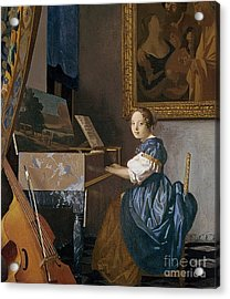 A Young Lady Seated At A Virginal Acrylic Print by Jan Vermeer