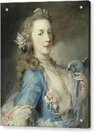 A Young Lady With A Parrot Acrylic Print by Rosalba Giovanna Carriera