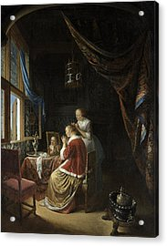 A Young Woman At Her Toilet Acrylic Print by Gerrit Dou