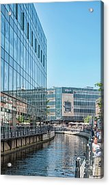 Acrylic Print featuring the photograph Aarhus Lunchtime Canal Scene by Antony McAulay