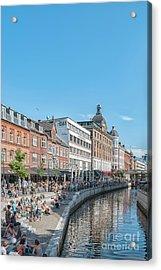 Acrylic Print featuring the photograph Aarhus Summertime Canal Scene by Antony McAulay