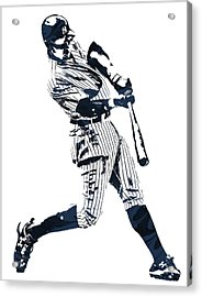 Aaron Judge New York Yankees Pixel Art 1 Acrylic Print by Joe Hamilton