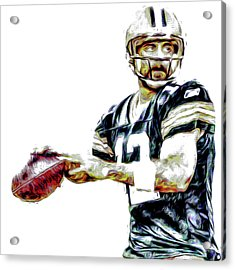 Acrylic Print featuring the photograph Aaron Rodgers Green Bay Packers Painted by David Haskett