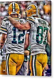 Aaron Rodgers Jordy Nelson Green Bay Packers Art Acrylic Print