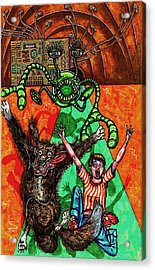 Aarron And Spacedog Chased By An Alien Acrylic Print