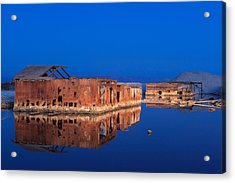 Abandoned And Sunken House And Reflection Acrylic Print by Scott Campbell