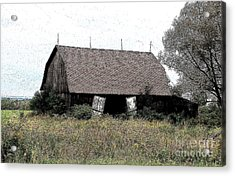 Abandoned Barn In Wny Ink Sketch Effect Acrylic Print by Rose Santuci-Sofranko