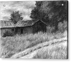 Acrylic Print featuring the drawing Abandoned Barns by David King