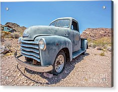 Abandoned Blue Chevy Pickup Truck In The Desert Acrylic Print