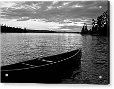 Abandoned Canoe Floating On Water Acrylic Print by Keith Levit