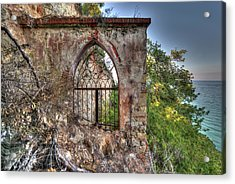 Acrylic Print featuring the photograph Abandoned Places Iron Gate Over The Sea - Cancellata Sul Mare by Enrico Pelos