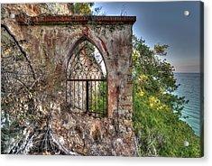Abandoned Places Iron Gate Over The Sea - Cancellata Sul Mare Acrylic Print