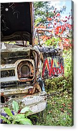 Abandoned Truck With Spray Paint Acrylic Print