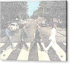 Abbey Road Beatles Songs Mosaic Acrylic Print by Paul Van Scott