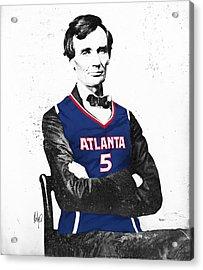 Abe Lincoln In A Josh Smith Atlanta Hawks Jersey Acrylic Print by Roly Orihuela