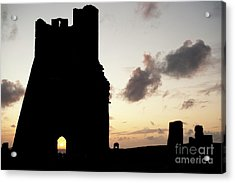 Aberystwyth Castle Tower Ruins At Sunset, Wales Uk Acrylic Print