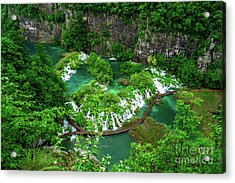 Above The Paths And Waterfalls At Plitvice Lakes National Park, Croatia Acrylic Print