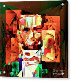 Acrylic Print featuring the photograph Abraham Lincoln In Abstract Cubism 20170327 Square by Wingsdomain Art and Photography