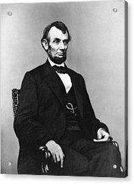 Abraham Lincoln Portrait - Used For The Five Dollar Bill - C 1864 Acrylic Print by International  Images
