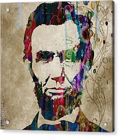 Abraham Lincoln Watercolor Modern Abstract Pop Art Color Acrylic Print