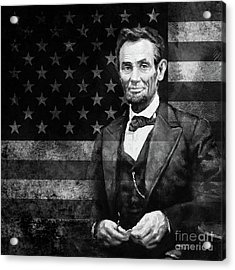 Abraham Lincoln With American Flag  Acrylic Print by Gull G