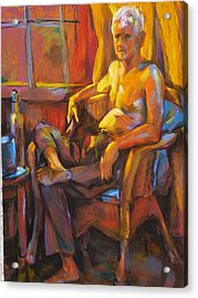 Absinthe Drinker Acrylic Print by Joan  Jones