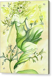Absinthe-the Green Fairy Acrylic Print by Nadine Dennis