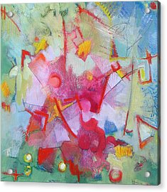 Abstract 2 With Inscribed Red Acrylic Print by Susanne Clark