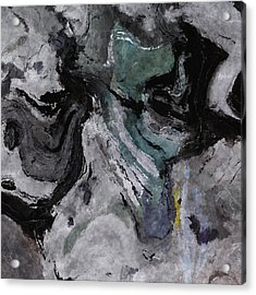 Acrylic Print featuring the painting Abstract And Minimalist Acryling Painting In Gray Color by Ayse Deniz