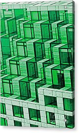 Abstract Architecture In Green Acrylic Print by Mark Hendrickson