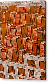 Abstract Architecture In Red Acrylic Print by Mark Hendrickson