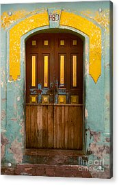 abstract architecture photograph - Door with Yellow Bars Acrylic Print