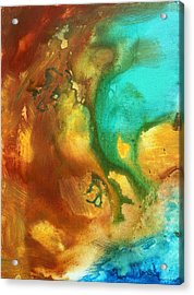 Abstract Art Colorful Turquoise Rust River Of Rust I By Madart  Acrylic Print by Megan Duncanson